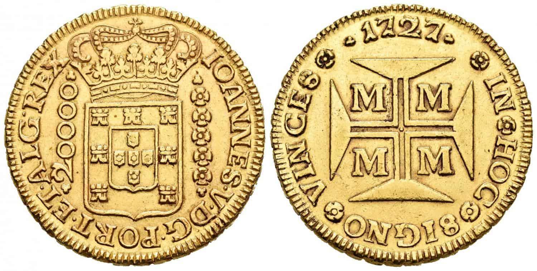 20.000 reis 1727, ceca de Minas