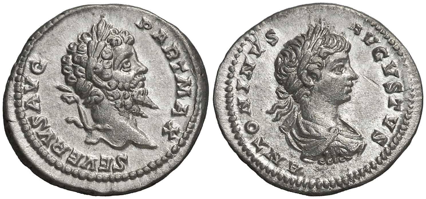retratos de padre en anverso y Caracalla en reverso