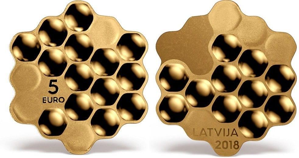 """Letonia. 5 euros """"miel"""""""