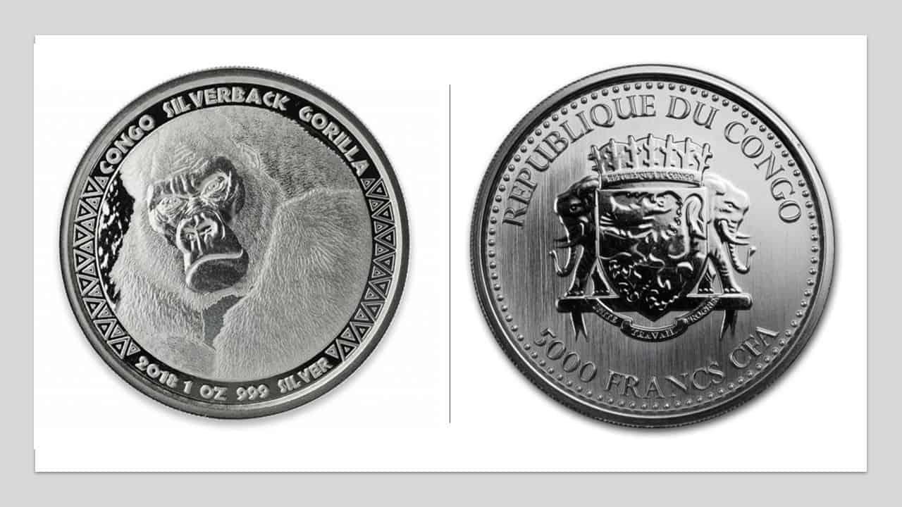 """Congo. 1 onza de plata """"gorila"""""""