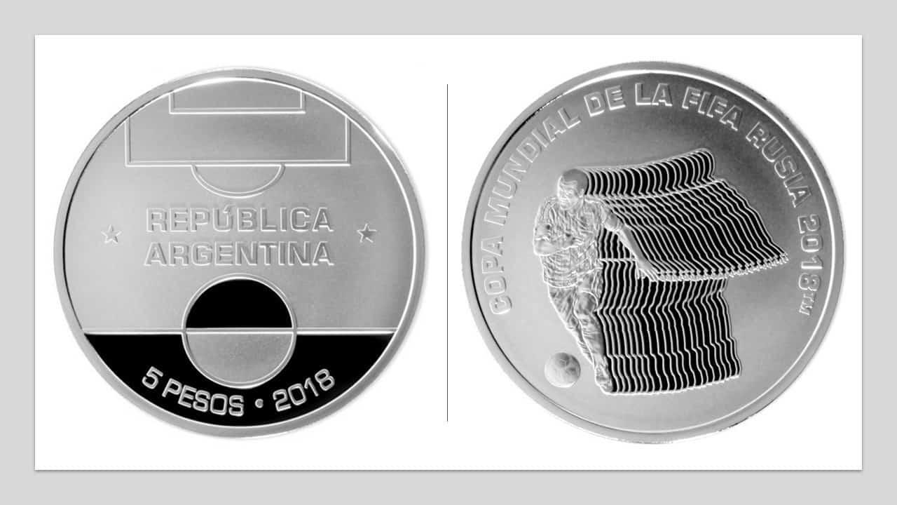 Argentina. 5 pesos 2018, conmemorativa de El Mundial de Fútbol