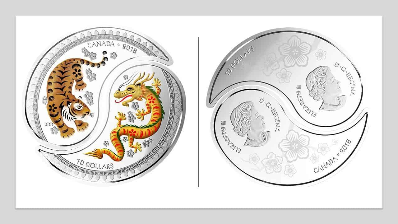 """Canadá. """"10 dólares Yin y Yang: Tigre y Dragón"""""""
