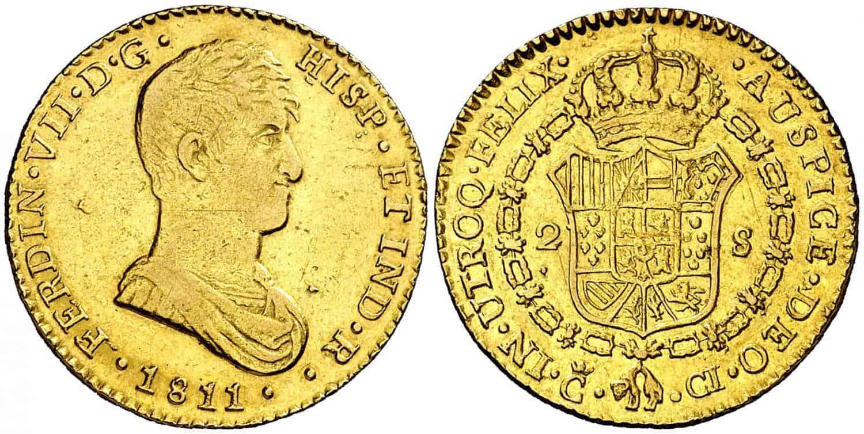 2 escudos 1811, Cádiz. Busto drapeado