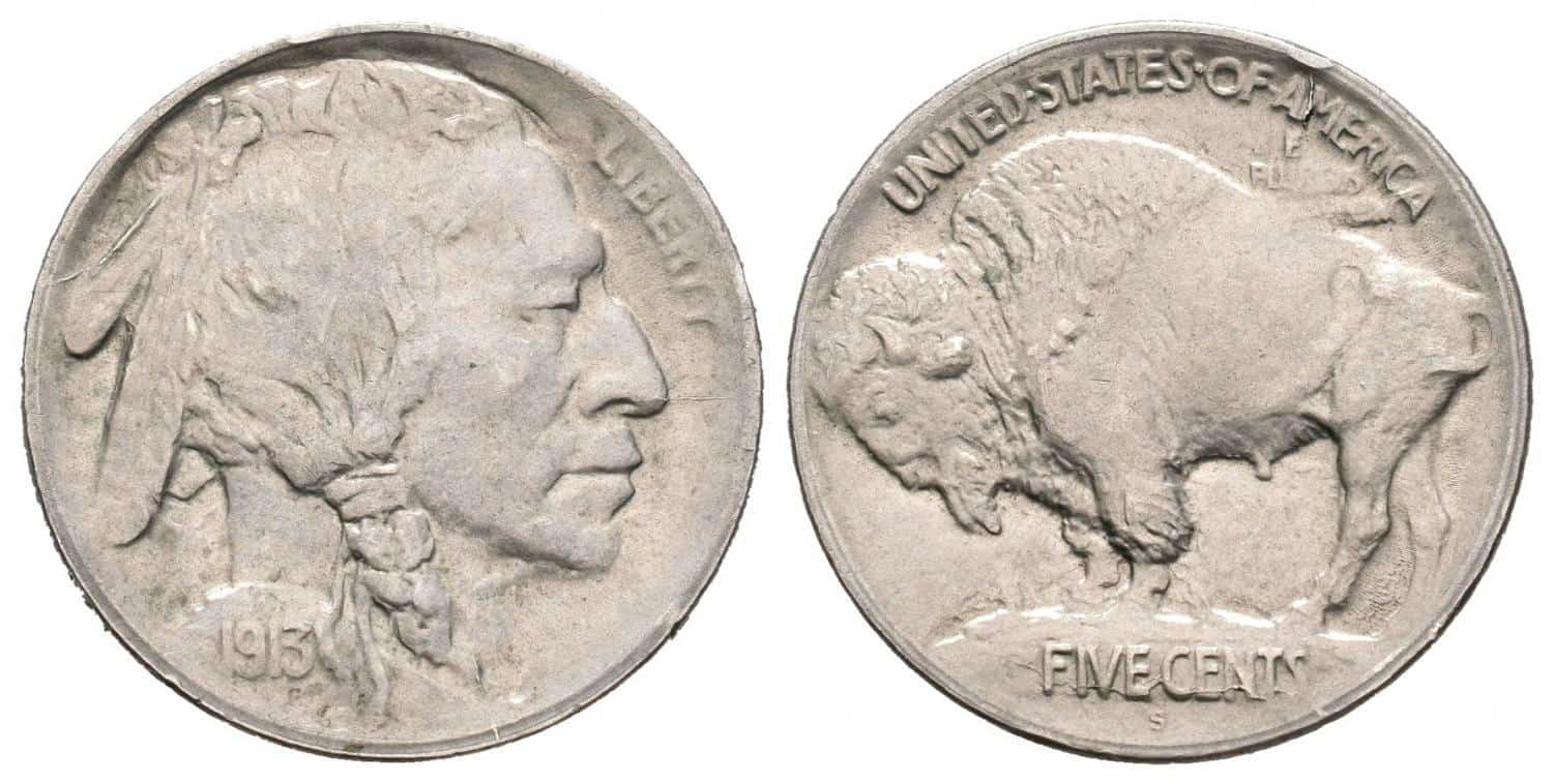 5 centavos 1913-S, Buffalo nickel tipo I
