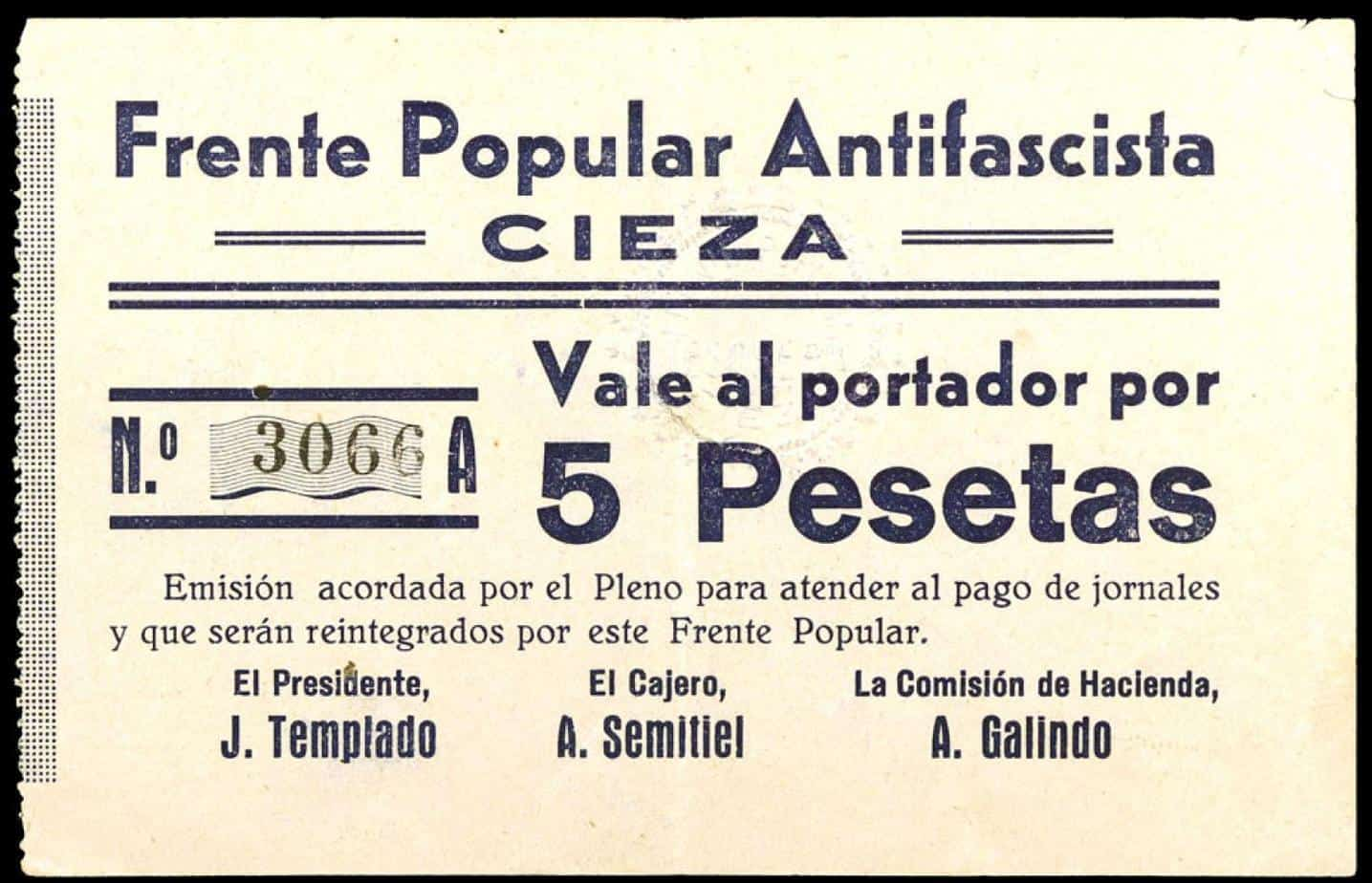 Vale de 5 pesetas. Frente Popular Antifascista. Cieza