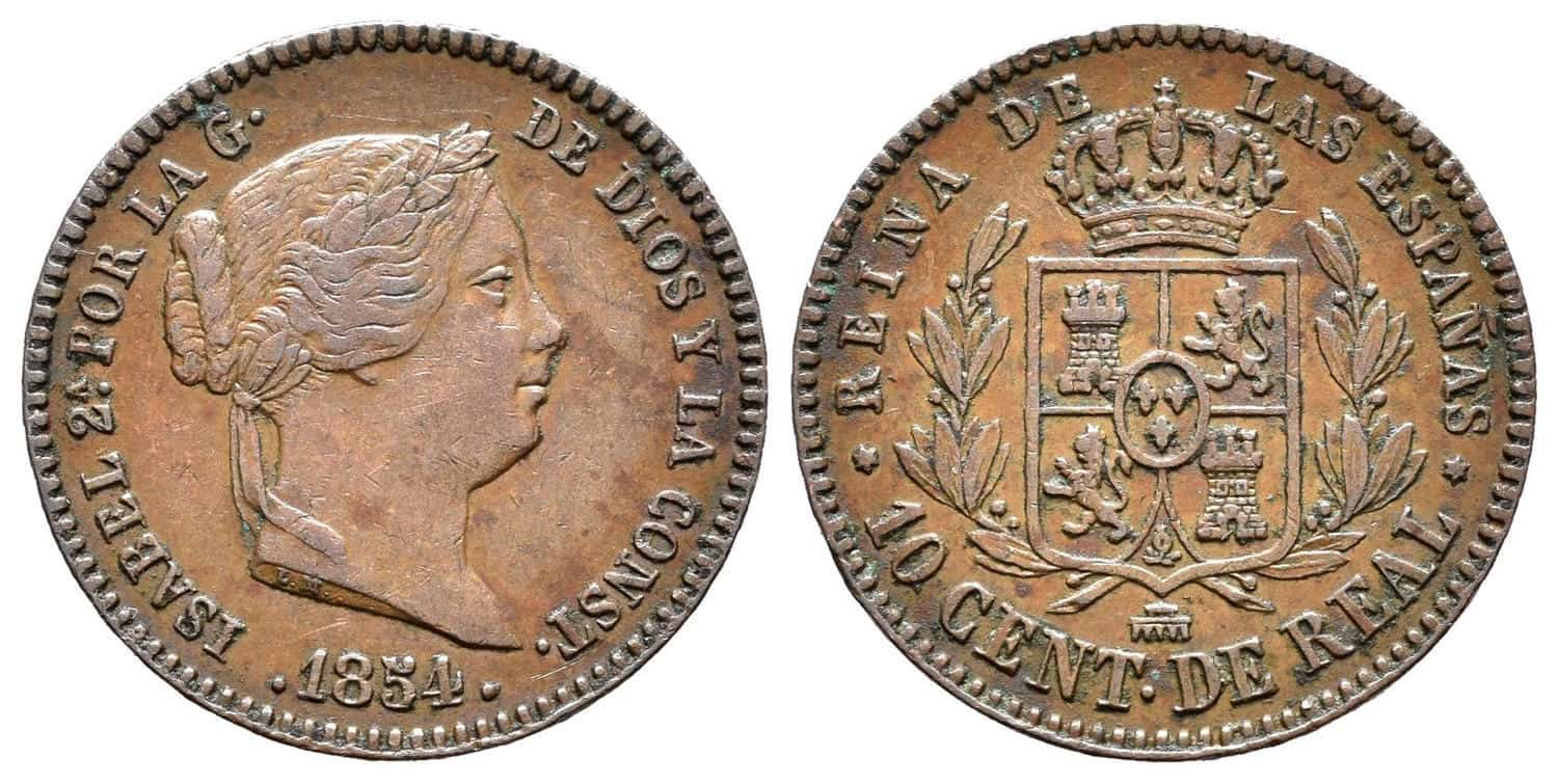 10 céntimos de real 1854