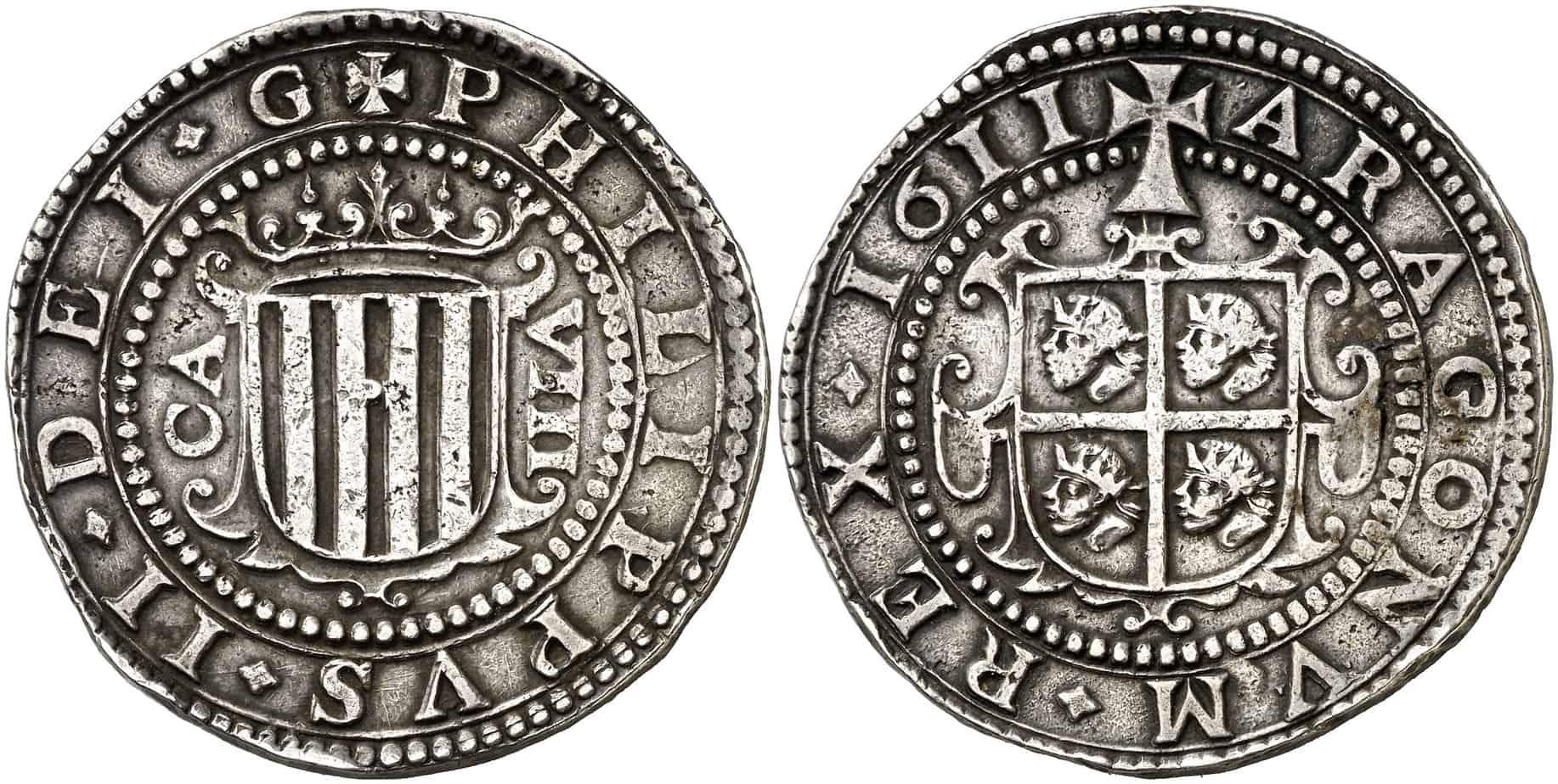 8 reales de Zaragoza de 1611