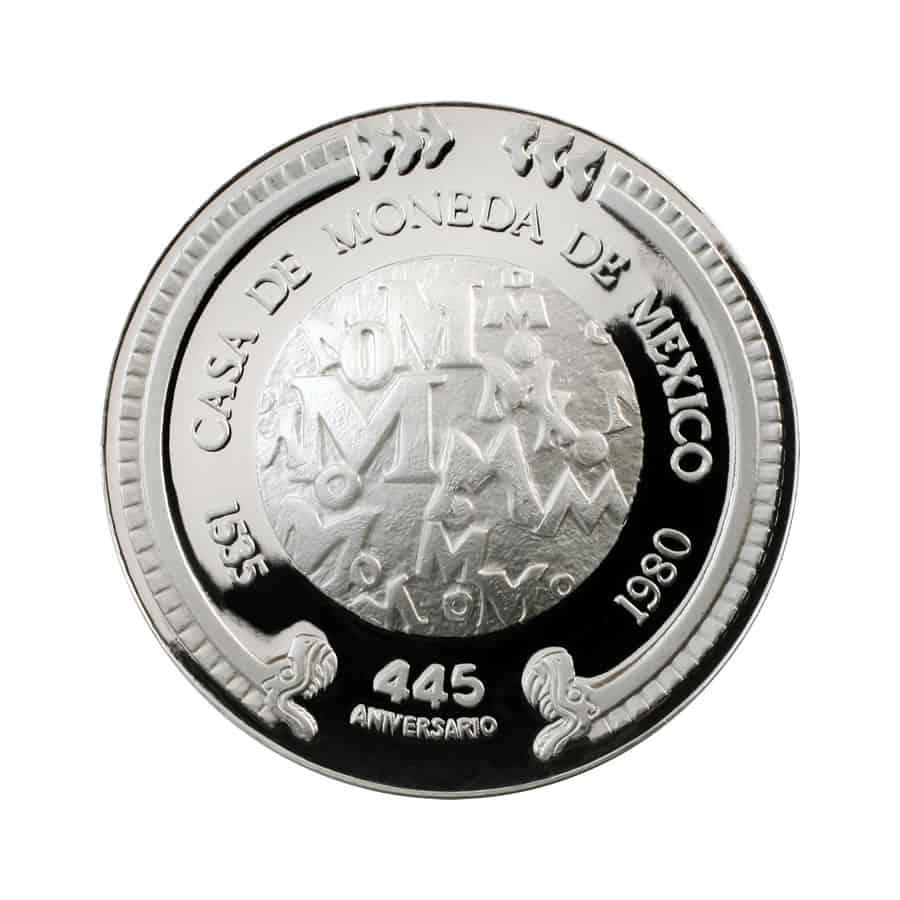 1 onza de plata, México 1980 reverso