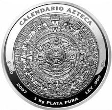 1 kilo plata calendario azteca 2007
