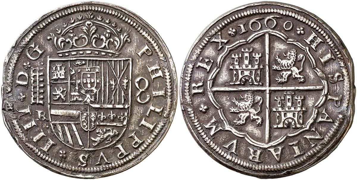 8 reales Segovia 1660, acueducto de seis arcos