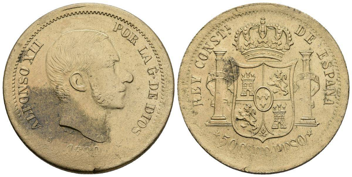 """50 centavos de peso 1880, """"prueba en latón"""""""
