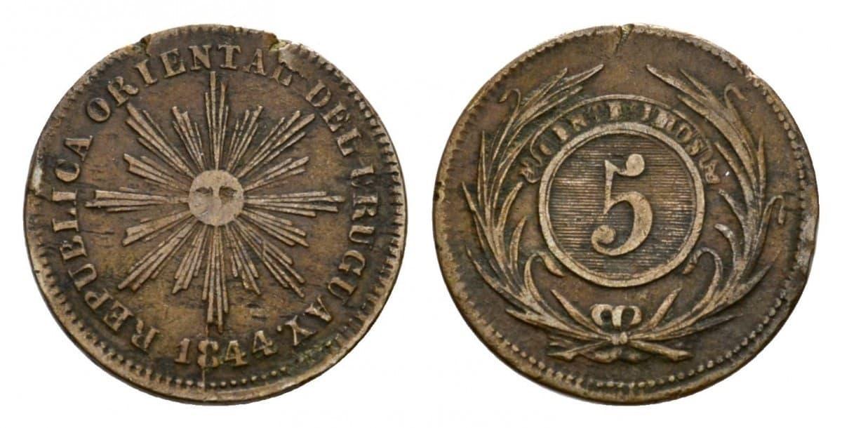 cinquiño de cobre, 1844