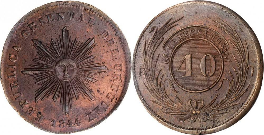 """40 céntimos o """"2 vintenes"""" cobre, 1844"""