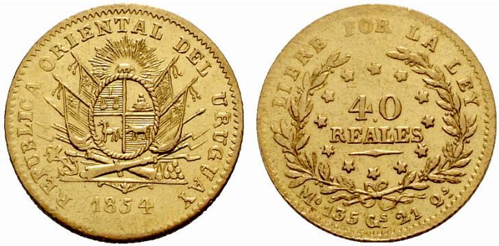 40 reales oro, 1854, Montevideo