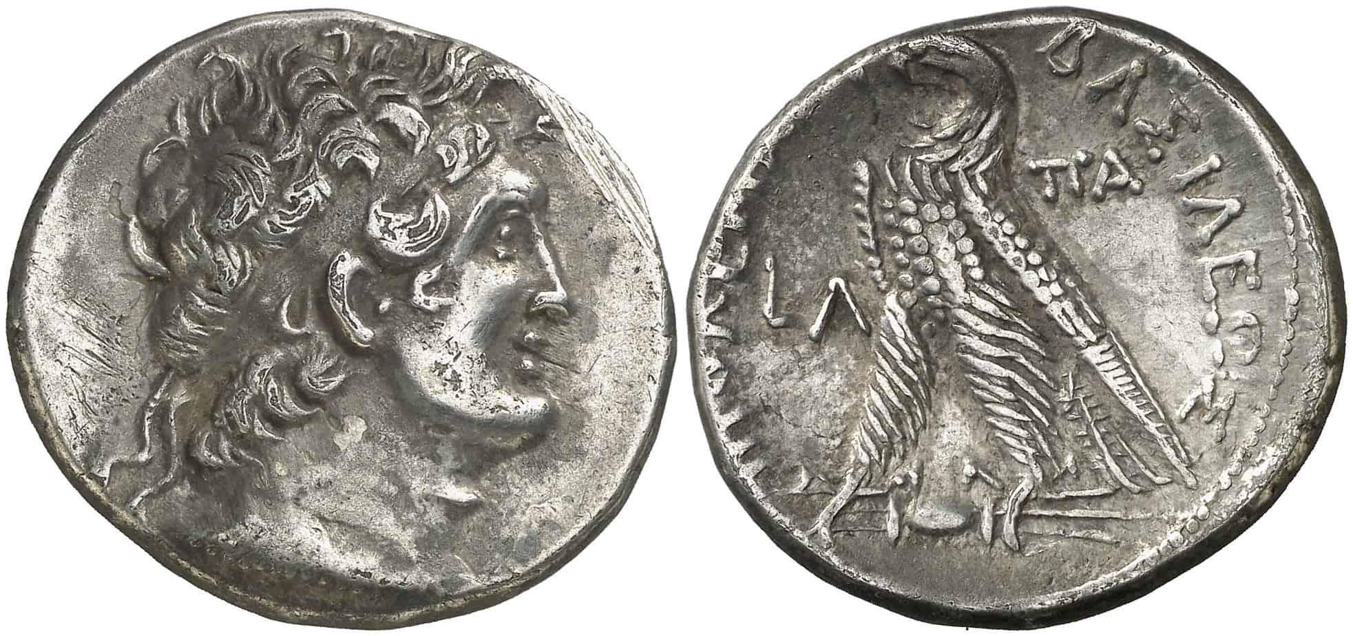 Tetradracma ptolemaico acuñados en Alejandría a nombre de Ptolomeo VI