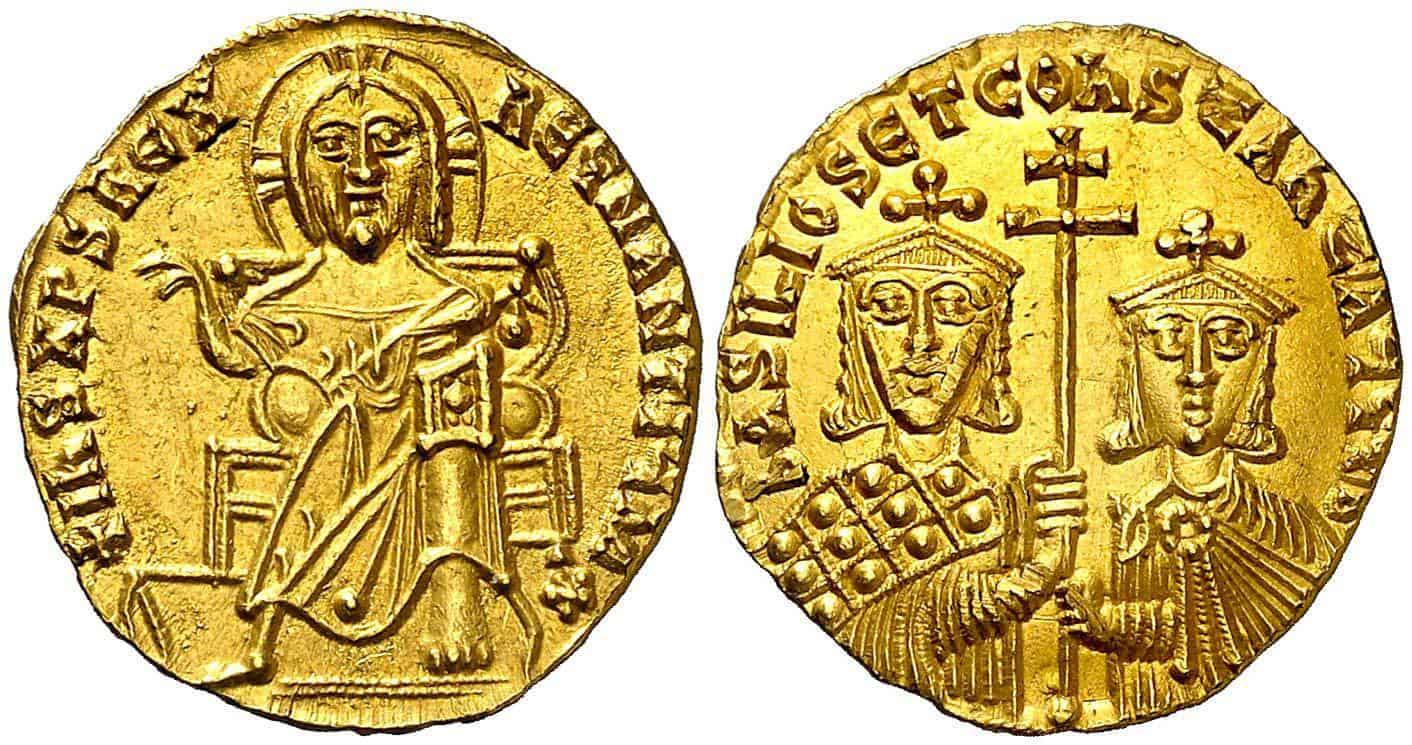 Sólido de Basilio I y Constantino, Constantinopla