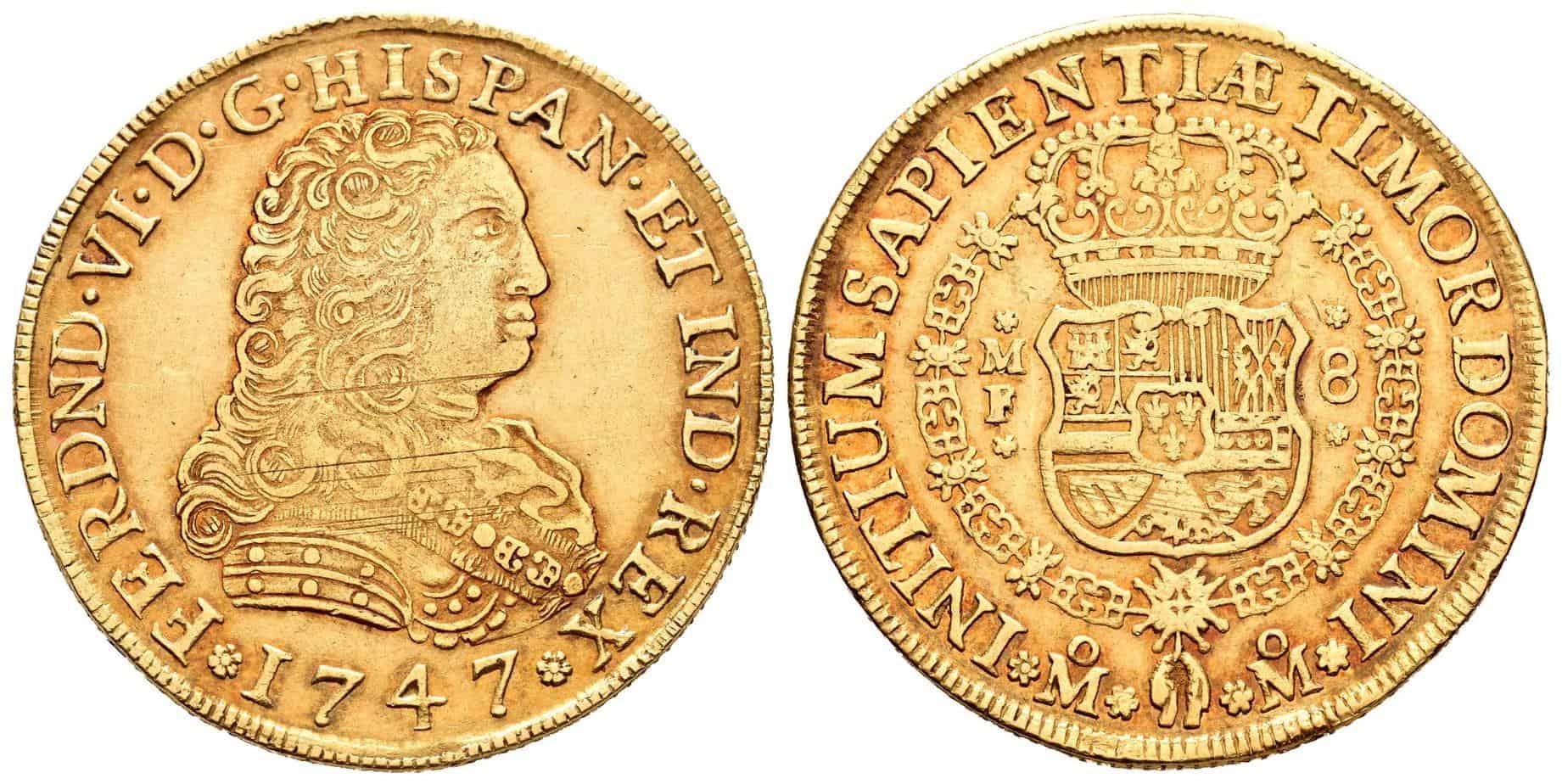"""8 escudos México 1747, """"cara de perro"""""""