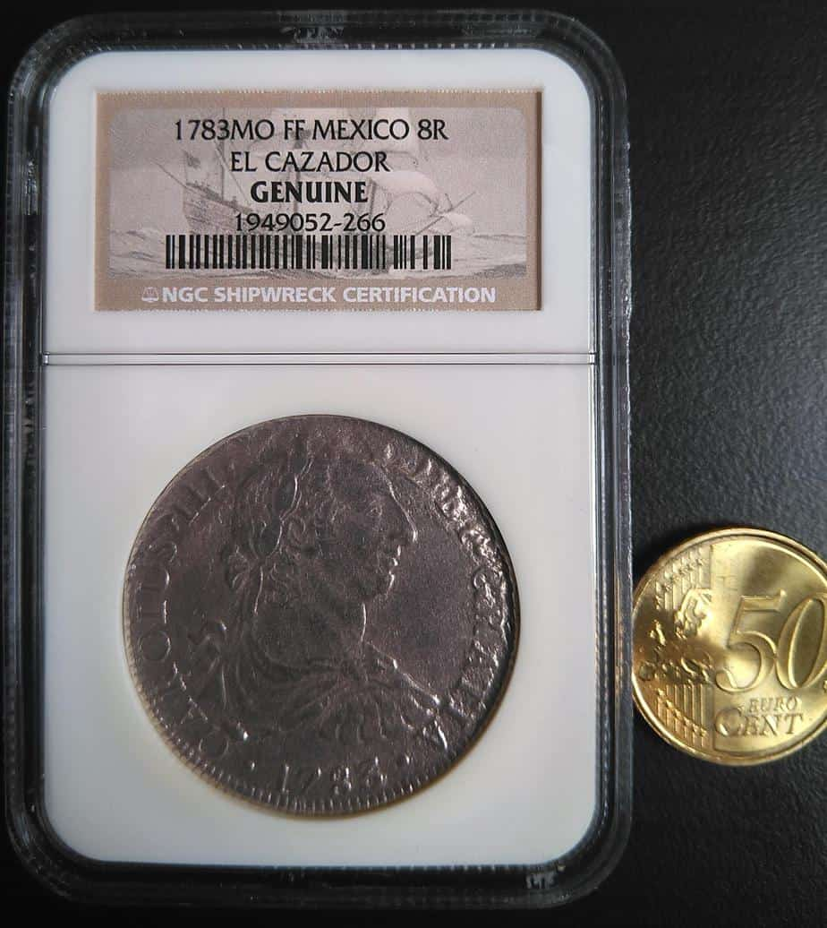 """Anverso de una auténtica moneda de """"El Cazador"""". Colección del autor."""