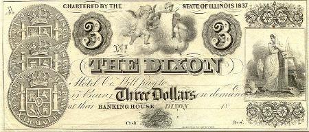 Billete de 3 dólares con el reverso de tres monedas españolas.
