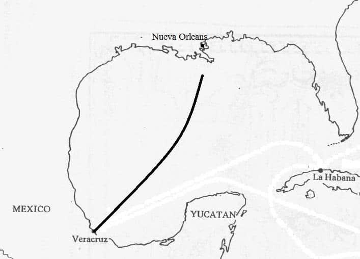 "Ruta aproximada del último viaje de ""El Cazador"""
