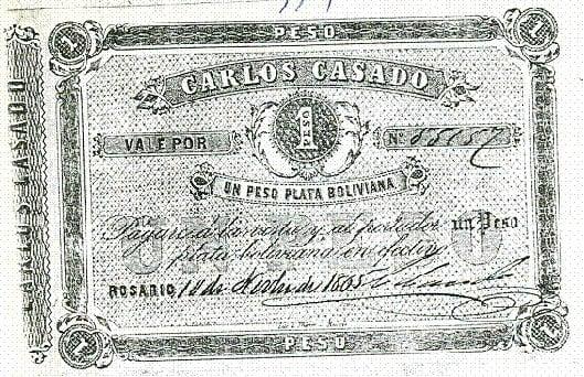 1 peso boliviano, Banco Casado
