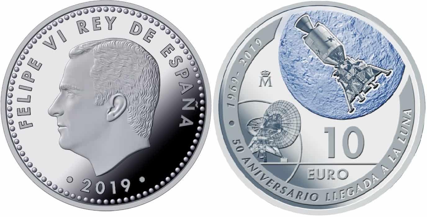 España y EEUU conmemoran en una moneda de 2019 la llegada a la luna