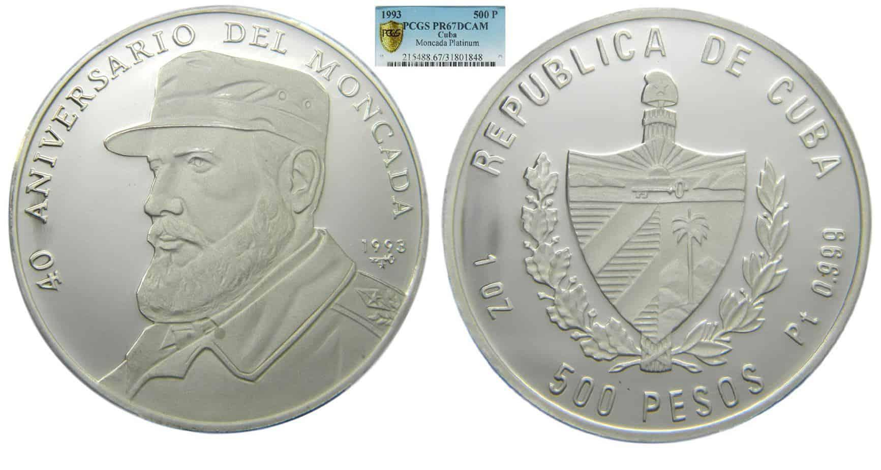 Cuba, 500 pesos 1993 platino