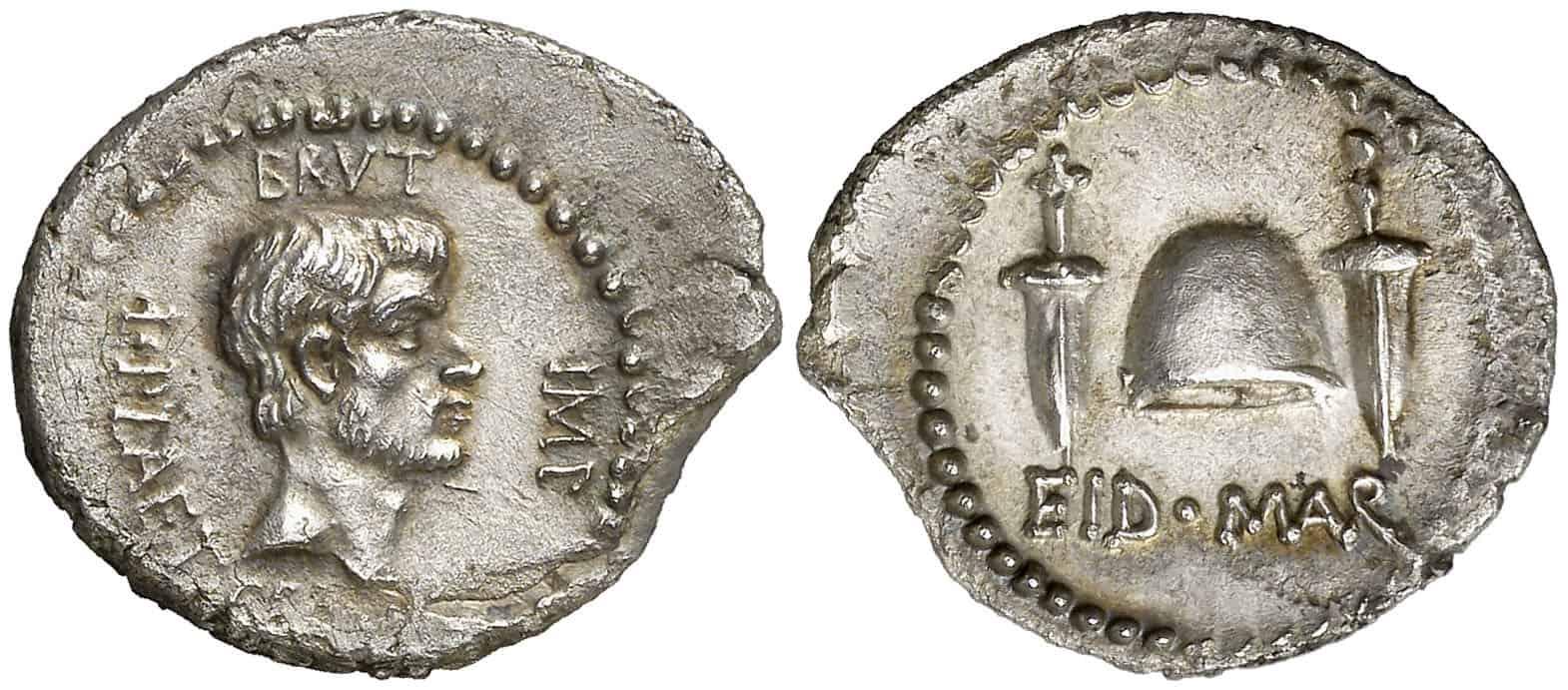 Denario de Bruto sobre el asesinato de Julio César