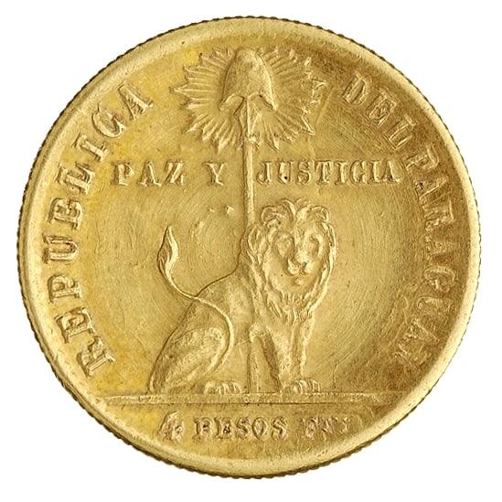 4 pesos paraguayos fuertes