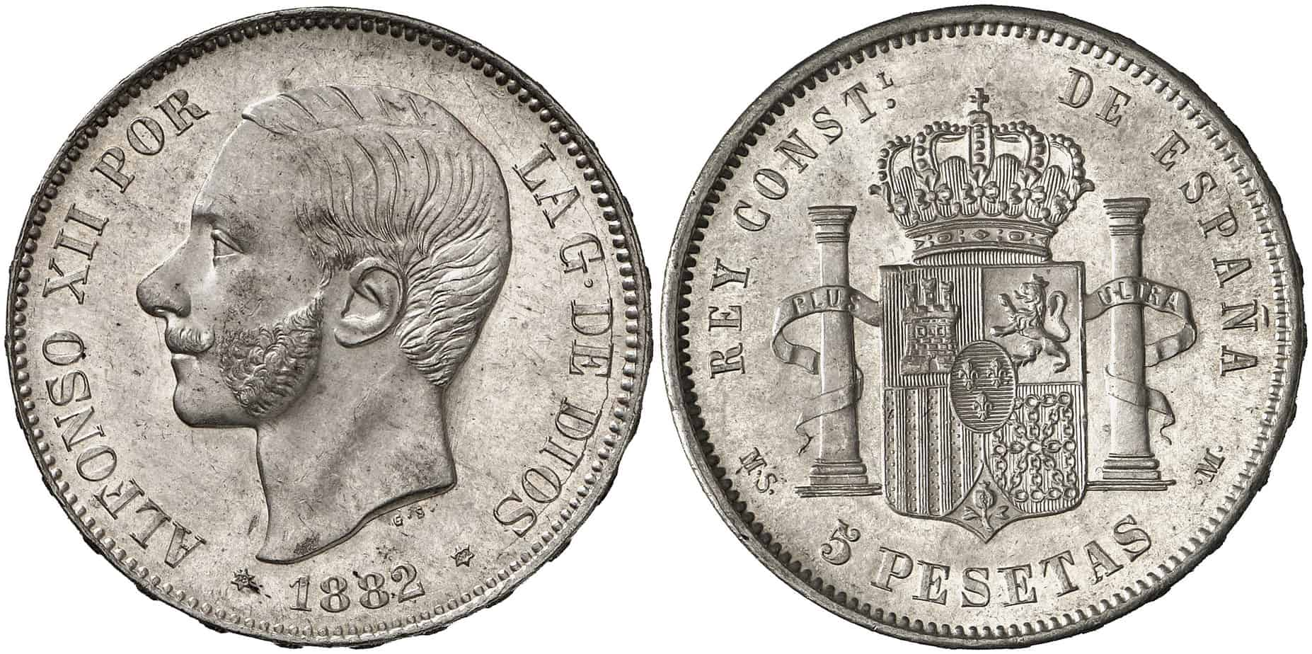 5 pesetas 1882 (18-82) en calidad sin circular