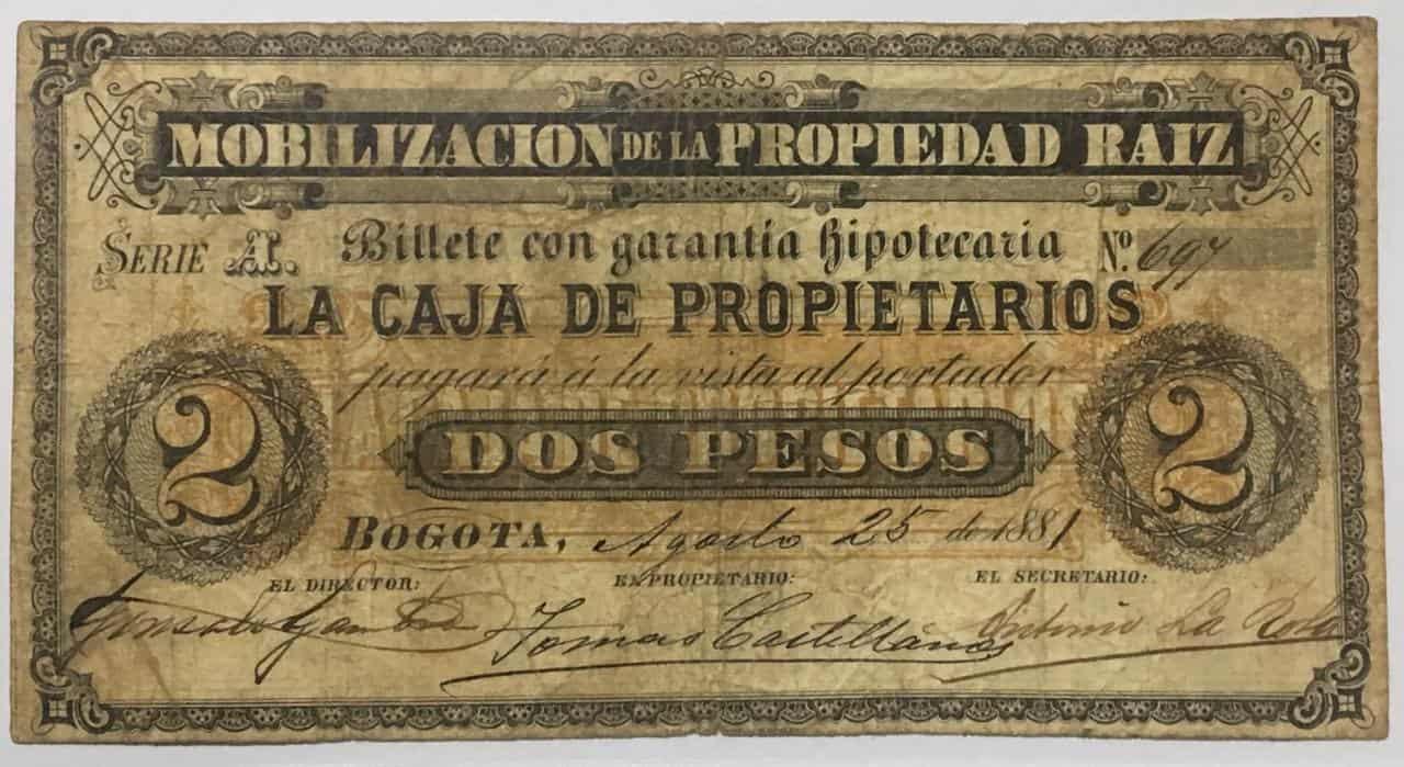 Billete de mobilización colombiano, 2 pesos