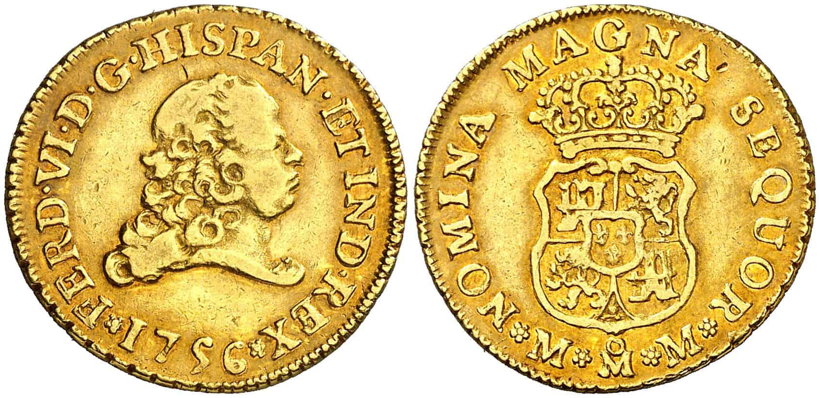 2 escudos («<i>pistole</i>«) 1756, México