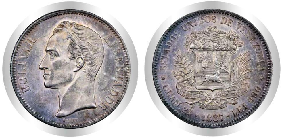 5 Bolívares 1887