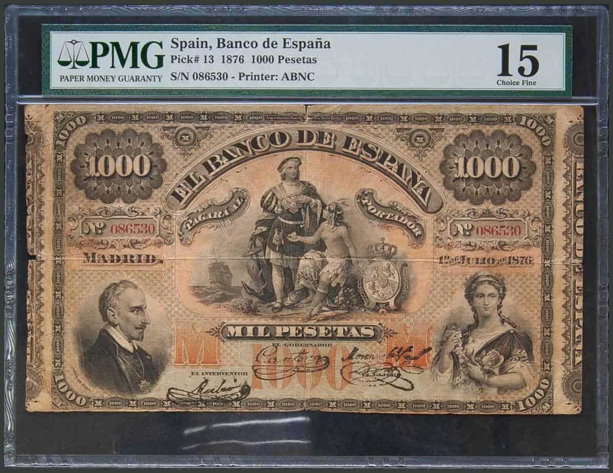 1000 pesetas 1876, Lope de Vega