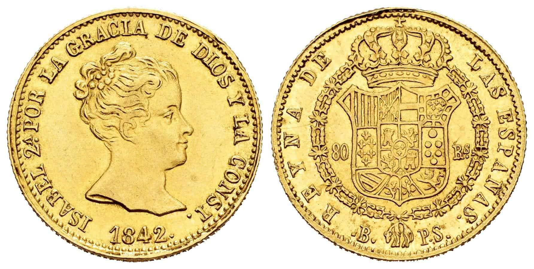 80 reales 1842, Barcelona P.S.