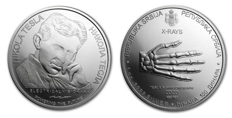 Serbia, 1 onza Nikola Tesla 2020