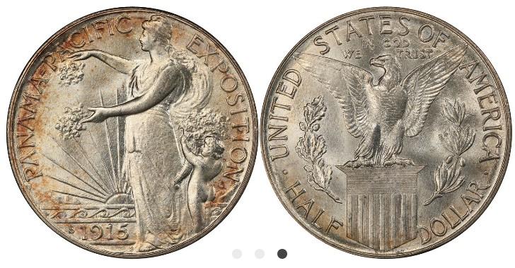 Medio dólar Panamá-Pacífico, 1915.