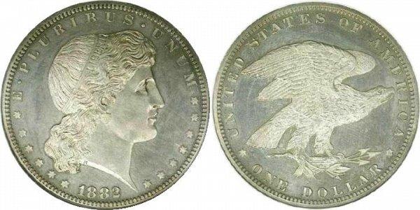 """Diseño del dólar """"Shield Earring Dollar"""" de 1882. Esta fue otra moneda muy popular no oficial."""