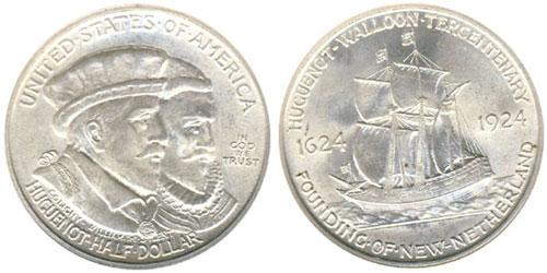 Medio dólar conmemorativo de el Tricentenario Huguenot-Walloon de 1924