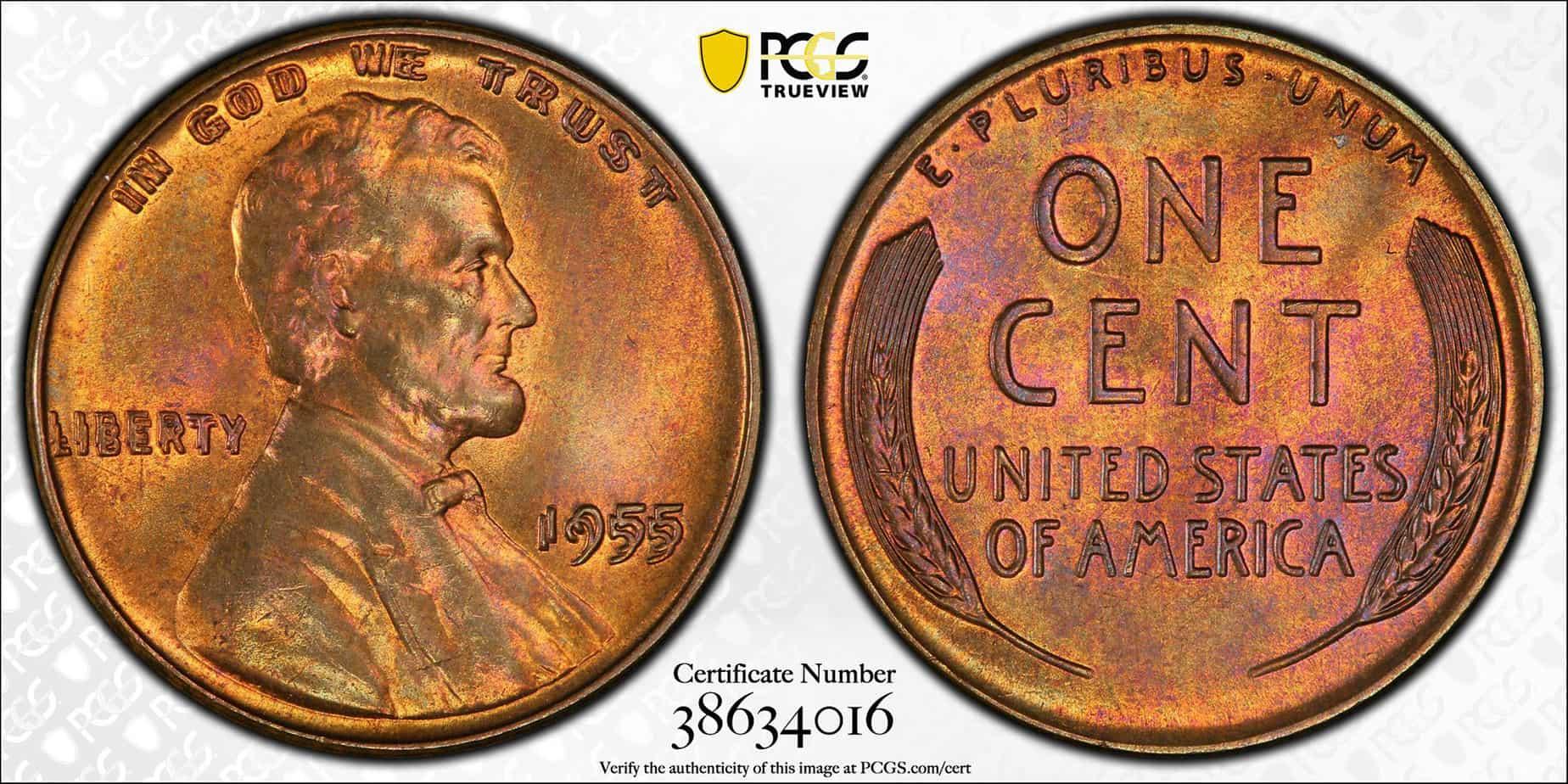 Variante - 1 centavo 1955 doble fecha en el anverso