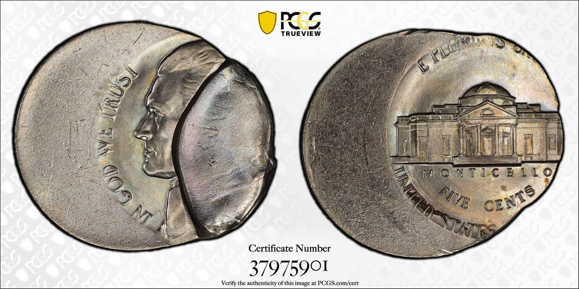 5 centavos 198X-PC, 30% incusa y 40% desplazada