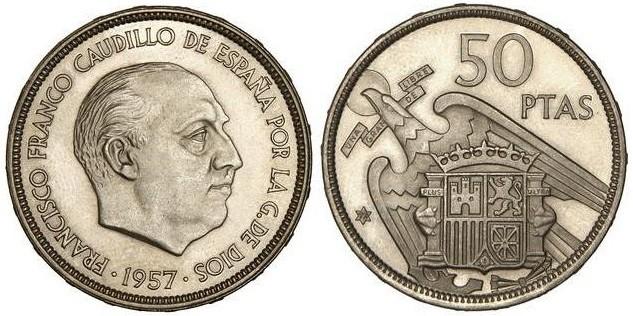 50 pesetas 1957, variante UNA-LIBRE-GRANDE