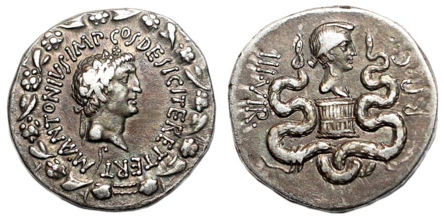 MARCUS ANTONIUS and OCTAVIA AR Cistophoric Tetradrachm
