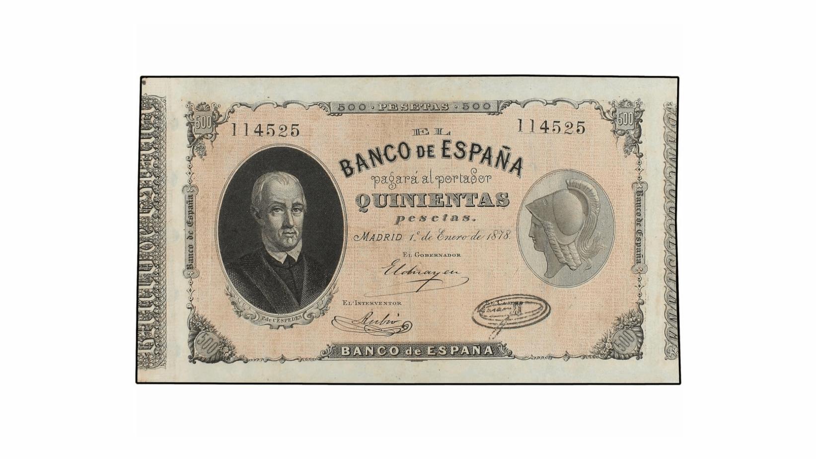 500 pesetas 1878, Pablo de Céspedes