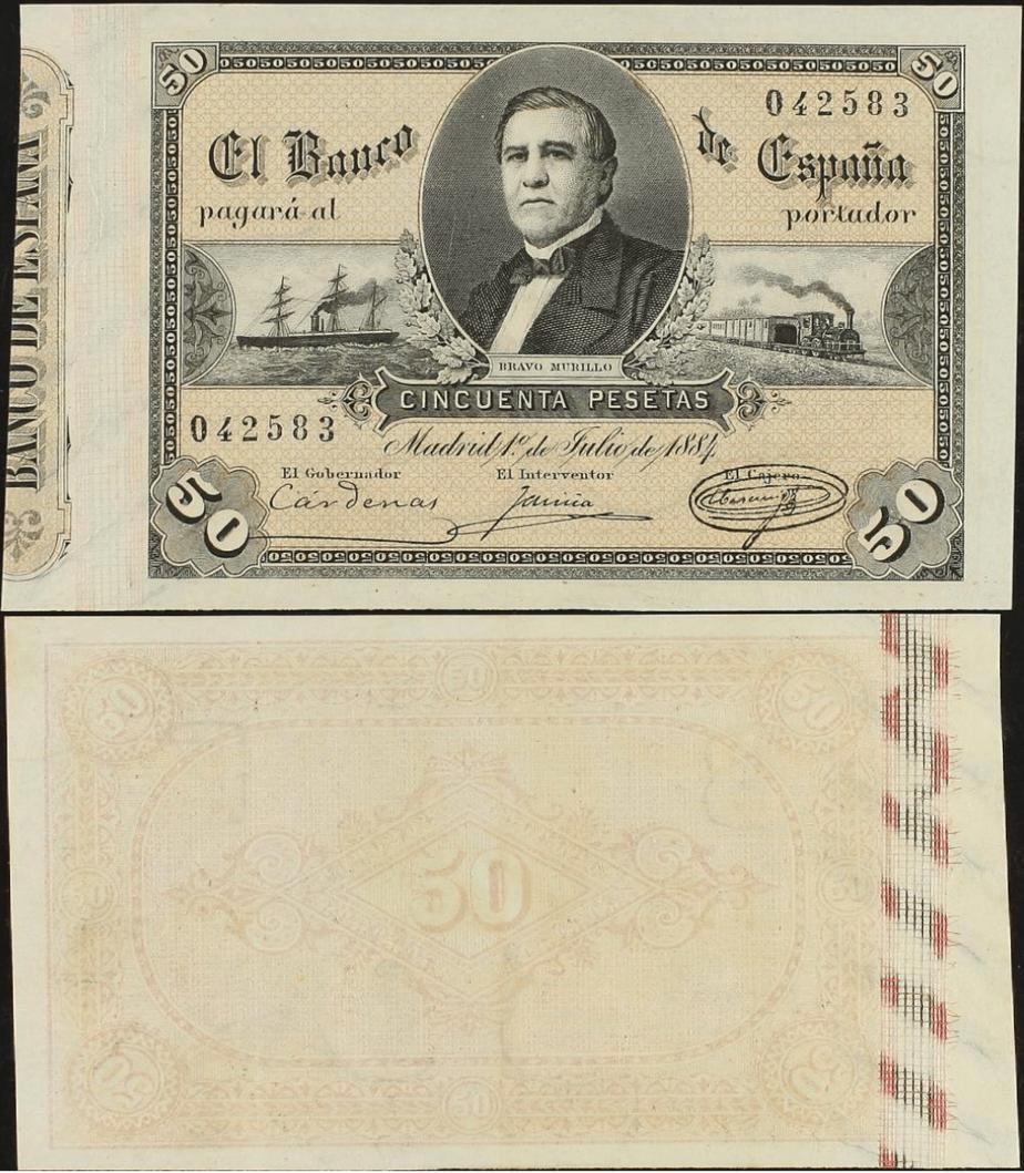 50 pesetas 1884