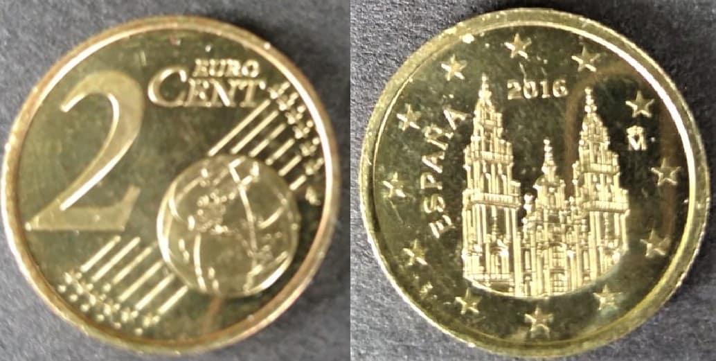 2 céntimos de Euro acuñados en núcleo de 2 euros