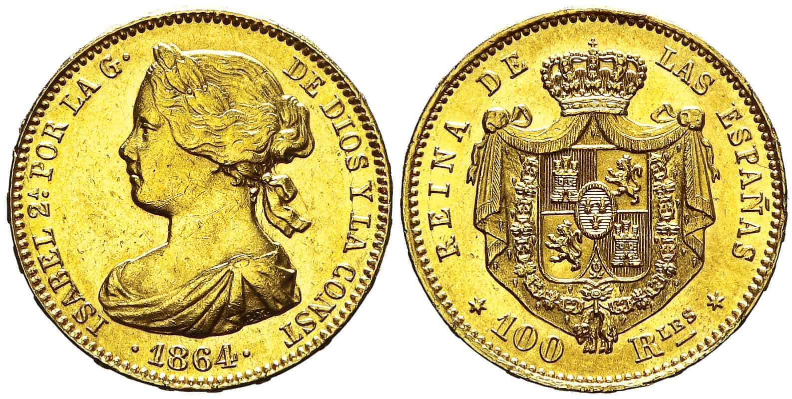 Doblón de 100 reales 1864, Madrid
