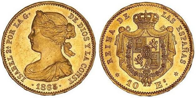 10 escudos 1865