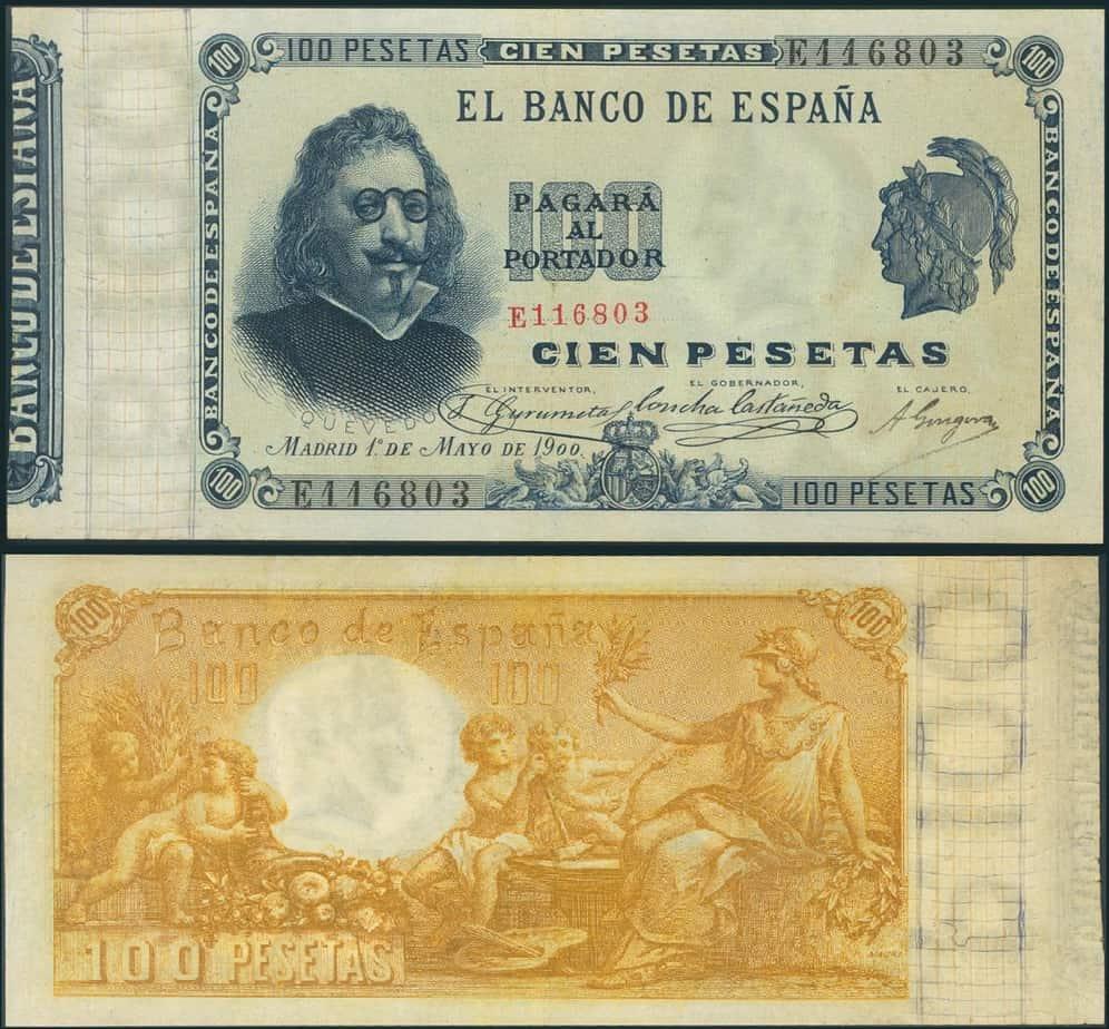 100 pesetas 1900 Quevedo