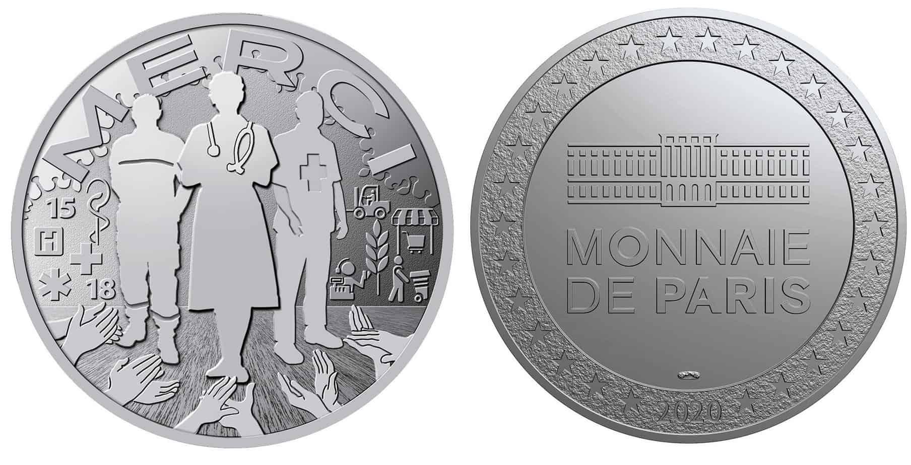 """: """"Merci"""", medalla emitida por la Monnaie de Paris"""